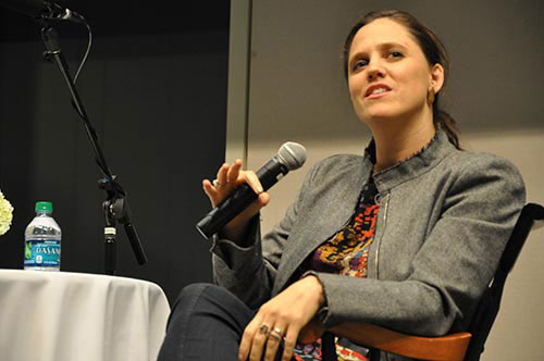 Detropia director Heidi Ewing responds to a question during the Q&A session that followed the screening of her film at UMass Boston.