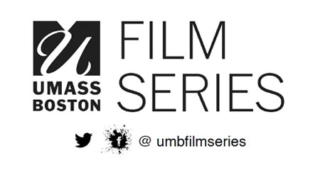 UMass Boston Film Series logo includes Twitter and Facebook logos. The Twitter handle is @umbfilmseries