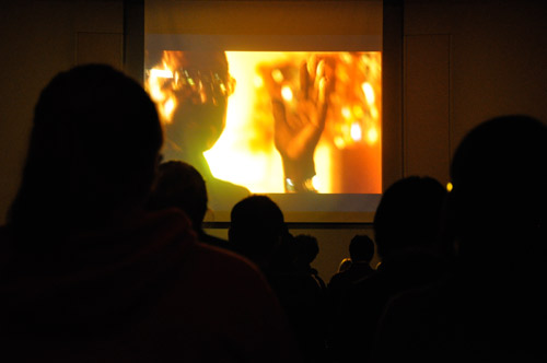The movie Detropia is shown on the screen